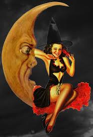 vintage halloween witch and moon pinup a little bit naughty
