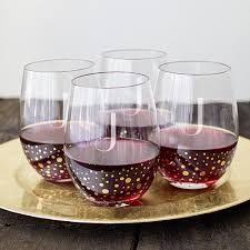 personalized 19 oz gold dot stemless wine glasses set of 4