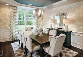 white leather dining chairs dining room transitional with coffered