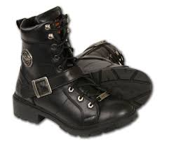 ladies motorcycle boots ladies black leather lace up boots w side buckle plain toes