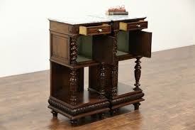 Antique Nightstands With Marble Top Pair Of French 1890 Antique Marble Top Walnut Nightstands Spiral