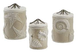 kitchen canister set starfish coastal coffee tea sugar flour jars