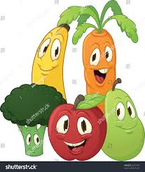 cute cartoon fruits vegetables all separate stock vector 55473379