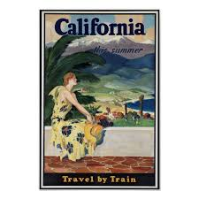 California travel by train images Vintage california travel poster jpg