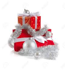 heap of christmas red gifts decorated with silver balls and tinsel