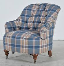 Overstuffed Armchair by Ethan Allen Victorian Style Overstuffed Tufted Plaid Armchair Ebth