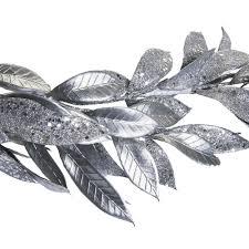wilko frosted glitter leaf garland silver at wilko