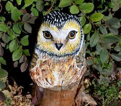 owl rock art hand painted stone bird art patio decor doorstop