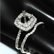 bridal set wedding rings semi mount bridal set wedding rings 14k white gold fits 1ct