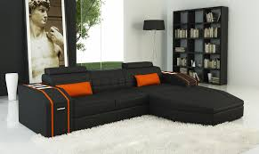 Orange And Black Rugs Furniture Modern Black Faux Leather Sectional Couch With Chaise