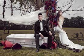 wedding photographs undertaker take coffin themed wedding photos singapore