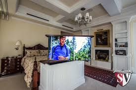 project profile motorized hidden tv in bedroom soundvision san