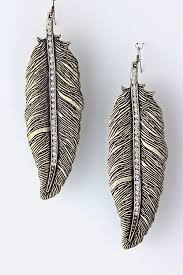 metal earings studded metal feather earrings