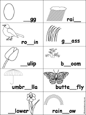 fill in missing letters in spring words enchantedlearning com