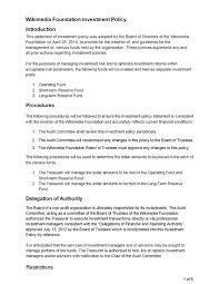 Resume Blank Templates Investment Policy Statement Investment Policy Statement1040