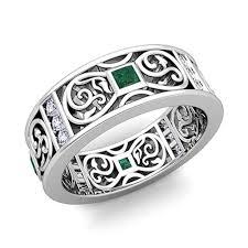 celtic knot wedding bands princess cut celtic emerald wedding band ring for men in 18k gold