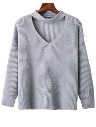 oversized shoulder sweater oversized choker drop shoulder sweater in gray one size