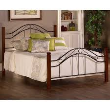 Wood And Iron Bed Frames Matson Mixed Wood Iron Bed In Cherry Black Humble Abode