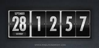free psd dark polished flip clock and calendar u2013 free psd