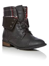 womens boots tu womens black and tartan turned brogue boots tu clothing