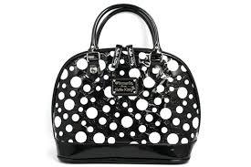 kitty black white dot patent leather embossed handbag