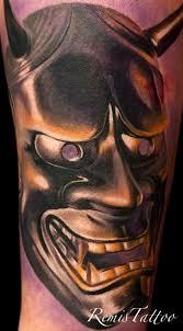 hannya mask tattoo black and grey black and grey ink hannya mask tattoo photo 2 photo pictures