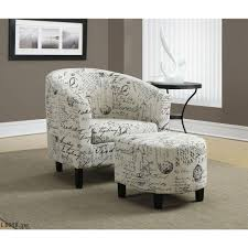 Black Accent Chairs For Living Room Monarch Specialties White Arm Chair With Ottoman I 8058 The Home