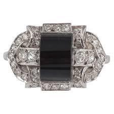 art deco onyx diamond platinum cocktail ring for sale at 1stdibs