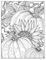 Pumpkins And Sunflower Digital Coloring Page Fall Adult Sunflower Coloring Page