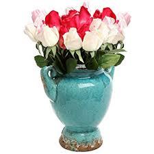 Flower Vase Decoration Home Amazon Com Turquoise Antique Rustic Style Double Handle Ceramic