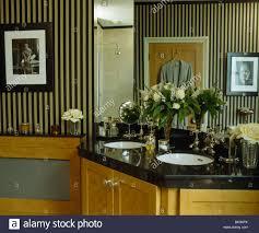 Striped Wallpaper Bathroom Black White Striped Wallpaper In Bathroom With Under Set Basins In