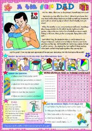 a tie for dad reading comprehension activities word search poem