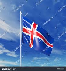 Jamaican Flag Day Waving Icelandic Flag Against Cloudy Sky Stock Illustration