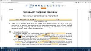 Real Estate Addendum Template by Third Party Financial Addendum English Youtube