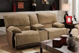 power reclining loveseat with console and cupholders in two toned