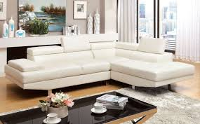 Modern White Bonded Leather Sectional Sofa Furniture Of America Cm6833wh Kemina Contemporary White Bonded