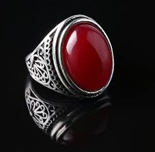 red jewelry rings images Vintage ring punk silver plated ring vintage jewelry big black jpg