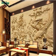 beibehang wood carved flowers rich flowers and birds tv background