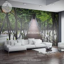 wall murals peel and stick vinyl self adhesive tagged suspension bridge thailand jungle wall mural self adhesive peel stick photo mural forest