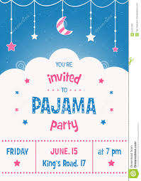 Party Invitation Cards Templates Pajama Party Invitation Card Template With Stars Moon And Clouds