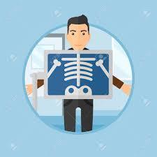 x au bureau patient pendant la radiographie procédure de rayons dans la salle d