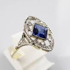 gold art rings images 18 kt yellow and white gold art deco ring with blue sapphire and 6 jpg
