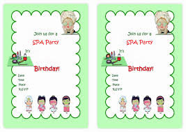 printable spa birthday invitations 28 images spa themed