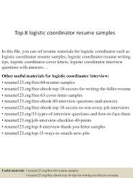 Logistics Job Resume by Logistics Coordinator Resume Cover Letter Contegri Com