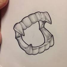grey ink pencilwork vampire teeth tattoo design tattooimages biz
