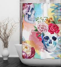 Skull Shower Curtain Hooks Watercolor Floral Skull Shower Curtain Watercolor By Inkandrags