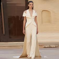 formal jumpsuit 2018 ivory formal evening dresses jumpsuit v neck custom made