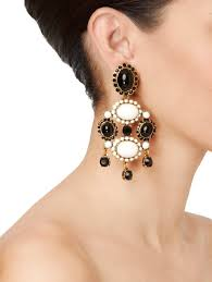iconic earrings lyst oscar de la renta iconic opaque cabochon drop earrings in white