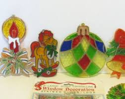 Stained Glass Christmas Window Decorations by Vintage Christmas Window Decorations Etsy