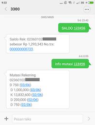 teks prosedur membuat rekening bank cara sms banking bri transfer cek saldo mutasi beli pulsa